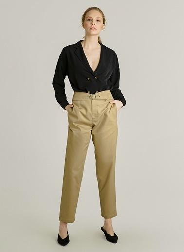 NGSTYLE Ceket Yakalı Bluz Siyah